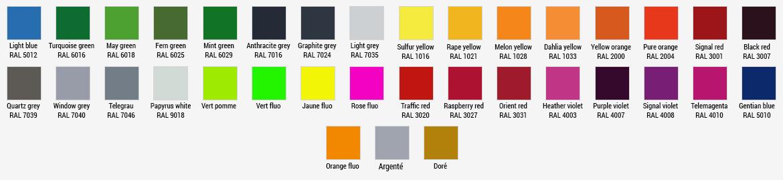 Teintes couleurs Lettre logo 3D relief PVC