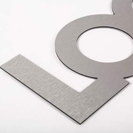 Logo double support Métal brossé argent